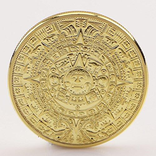 Amarzk1x Gold plattiert Maya Aztec Kalender Souvenir Gedenkmünze Sammlung Geschenk (Gold)