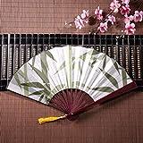 Ventaglio cinese per bambini Elegante blu bambù con cornice di bambù Pendente nappa e borsa di stoffa Fan della mano economici Ventagli a mano per le donne Grandi ventilatori di bambù Decorazione del