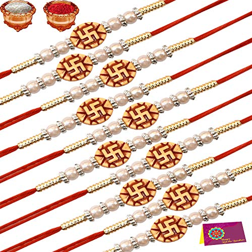 Tonkwalas Rakhi Festival Combo of 10 Dora Rakhi Set for Brother With Rolo Chawal & Best Wishes Greeting Card