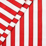 Liegestuhlstoff Outdoorstoff Stoff Breite 45 cm Meterware Blockstreifen Rot-Weiss