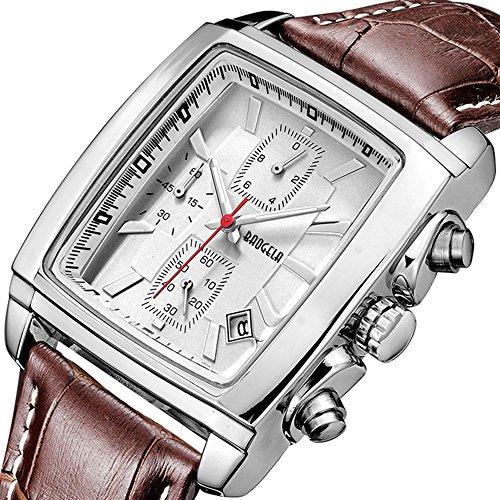 Montre Homme carré - Bracelet Cuir Marron - Quartz Analogique - Vintage Chronographe Imperméable - Cadran Blanc