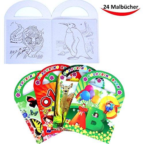 German Trendseller® - 24 x Malbuch mit Henkel für Kinder┃ GRATIS Sticker im Buch ┃ Jungen &...
