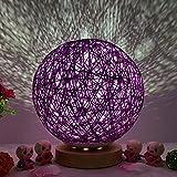 TianranRT Lampe de chevet à LED en rotin 3D USB pour la lune et la nuit, lilas
