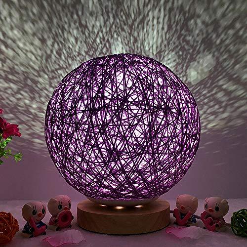 TianranRT, 3D USB-Lade Led Rattan Mond Nachtlicht Mondschein Tisch Schreibtisch Mondlampe Aufladung Nacht Licht Mondlicht Lampe (Lila)
