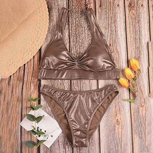Bikini-Sets Damen, Geteilter Badeanzug Frauen Einfarbiges Gefaltet Schwimmanzug High Waist Slip Badeanzüge Bademode Strandmode Swimsuit Swimwear Bekleidung (Gold, L) - 5