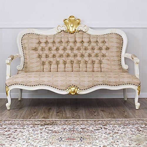 Simone guarracino divano stile '800 luigi filippo decapé avorio particolari foglia oro tessuto damascato avorio oro bottoni swarovski