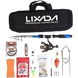 Lixada Canne à pêche Set, télescopique Canne à pêche et Moulinet Combo avec Ensemble de mer salée d'eau Douce kit de Canne à pêche kit