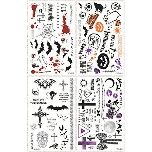 Newin Star Temporäre Tattoo Aufkleber Halloween Icons Designs Abnehmbare Wasserdicht Temporäre Tattoos Halloween Body Art Sticker Blatt Papier 1 Satz -