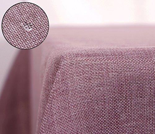 Deconovo Tischdecke Wasserabweisend Tischwäsche Lotuseffekt Tischtuch Leinenoptik 130x160 cm Violett
