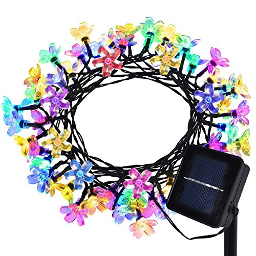 Ostern Lichterkette,Coxeer Led Lichterkette Wasserdichte Solarleuchten 22,96 ft 50 LED Outdoor Lichterkette mit 8 Modus Dekoratives Licht für Ostern Garten