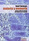 Materia y memoria par Bergson