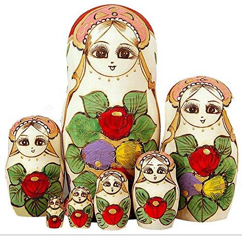 K&C Nettes kleines Mädchen mit großem Braid Handgemachtes Matryoshka, das Puppen wünscht Russische Nestpuppe stellte 7 Stücke hölzerne Kindergeschenke ein Spielzeug-Ausgangsdekoration-Grün ein