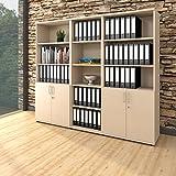 Weber Büro PROFI Schrankwand abschließbar Schrank Büroschrank Flügeltürenschrank Regalschrank 5 OH Ahorn