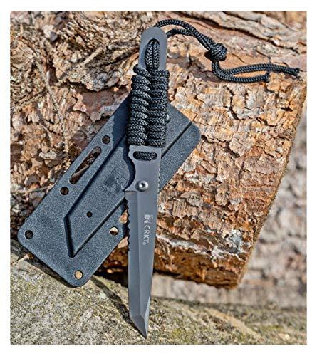 Evil Wear Outdoor Messer mit Kunststoff Schwarz Taktisches Einhand-Messer Gürtel-Messer