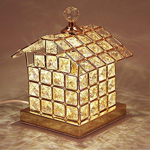 Wanson Tischlampe Modern Schlafzimmer Hotel Schreibtischlampe Lampe LED Lampe Kristall Tischlampe Durchmesser 14Cm Gold Luxus Lampe -