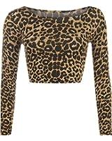 Womens Aztec Animal Print Crop Top Ladies Leopard Long Sleeve Short - Sizes 8 - 14