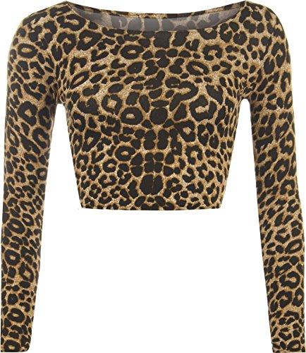 bdb85eff87 WearAll - Damen Aztek Tier Leopard Langarm crop top - Tier - 36-38