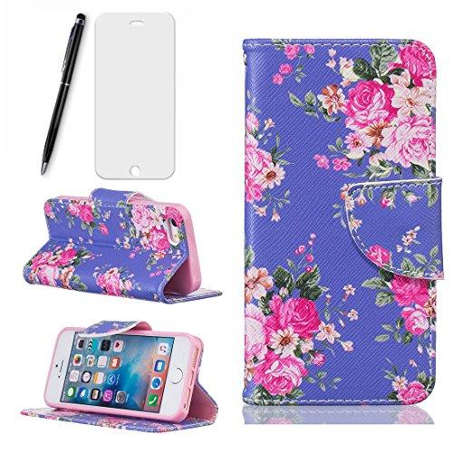 iPhone 6/6S Hülle (4.7 Zoll) in-Blue and Pink Rose Flower , Lotuslnn iPhone 6/6S Leder Tasche Schutzhülle(Hülle+ Stylus Stift+Screen Protector)
