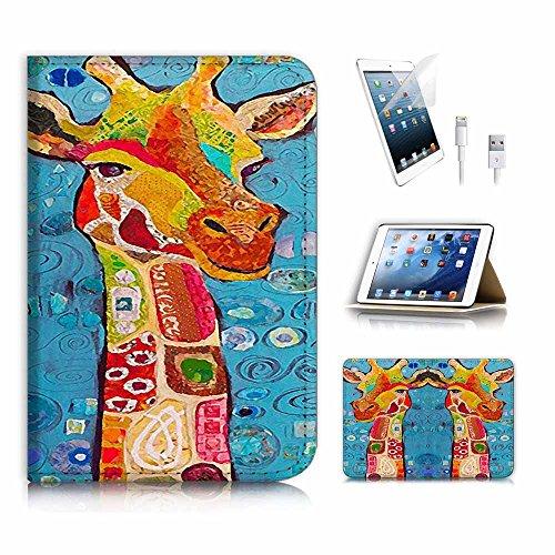 Preisvergleich Produktbild (für iPad Mini 4, Generation 4) Flip Wallet Schutzhülle & Displayschutzfolie Bundle. A3905Abstrakte Kunst Giraffe