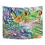XHFITCLtd - Tapiz de rana verde, acuarela, diseño de bosque tropical, de poliéster, para...