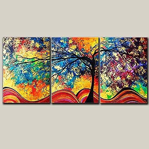 X&L Pittura senza cornice minimalista moderna paesaggio pastorale pittura a olio Spray Micro della famiglia soggiorno sala da pranzo sala corridoio Hotel Triple 2,5 CM spessore telaio decorativo Painting(1-2) , triple 50x70