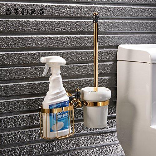 Redhj suspensión de la Torre Baño de Cobre Europeo Conjunto Negro Oro Viejo toallero Estante toallero baño, WC Cepillo Americana [con] Cesta de Almacenamiento