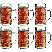 Cerveza alemana Steins 500 ml - 6 unidades | Jarras de cerveza tradicionales de jarra de cerveza, cristal Steins, con mango de cerveza, diseño de jarra de cerveza Classic jarras de cerveza tradicionales
