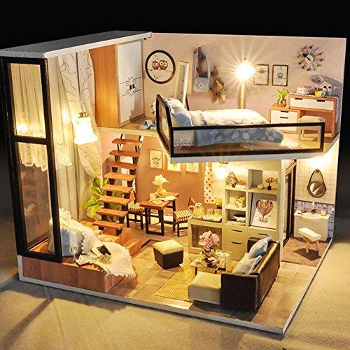 Holz Miniatur - Puppenhaus Set bemalbar - für Kinder und Mädchen - Renovieren Holzbausatz - mit Möbel zum Selbermachen mit LED Lichter für Erwachsene (Miniatur-licht-set)