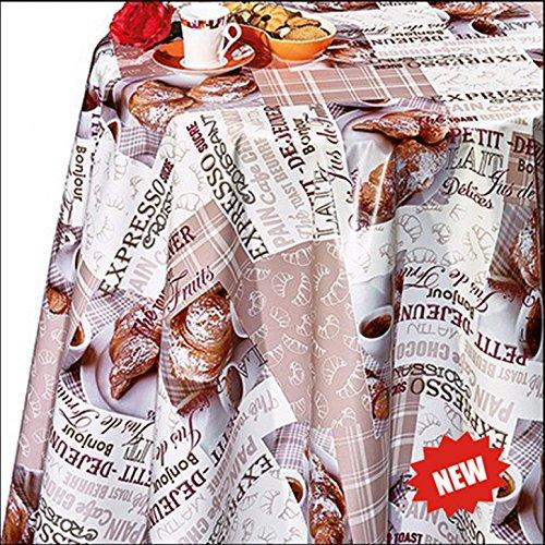 140cm rund Motiv Kaffee und Croissants, abwaschbar (Runde Vinyl Tischdecke Ausgestattet)