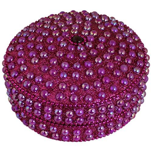 Scatola di gioielli fatti a mano per donna rosa rotonda con perline per collana, orecchini, anello e catena