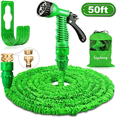 Suplong Garden Hose Expandable Water Pipe 3 Times Expanding 50ft Flexible Magic Hose Pipes Reel With 7 Function Spray/Brass Connector Fittings/Hose Hanger/Storage Bag