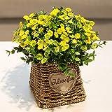 XPHOPOQ Flor Hand-Woven flores artificiales Cestas idílico Jardín estilo Parte Decoración Decoración en Amarillo bodas flores