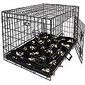 "Easipet Large Black Metal Dog Cage With Black Pawprint Bed 36"""