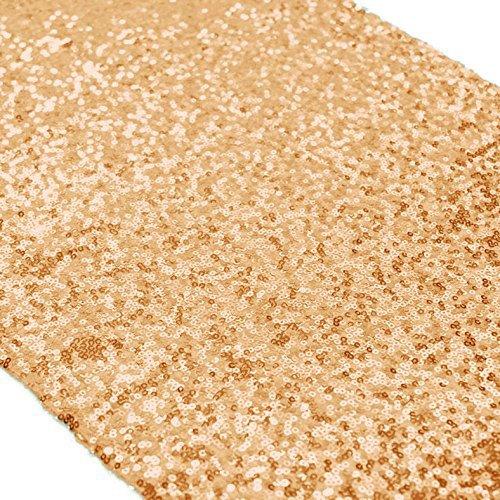 TtS 30cmx275cm (Champagne Gold) Shimmer Glitzer Pailletten Tischläufer Party Hochzeit Bankett Dekoration