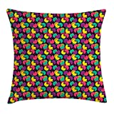 ziHeadwear Geometric Throw Pillow Cushion Cover, Major Sector of Circles Vibrant Color Overlapping Design of on a Dark Background, Decorative Square Accent Pillow Case, 18 X 18 Inches, Multicolor
