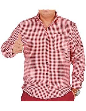 Trachtenhemd Anton Rot - Herren Hemd für Oktoberfest und Mottoparty