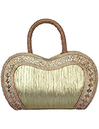Exotic Collections, Hand Held Bag, Golden Color, Beautiful Stone Work, Heart Shape, Single Handel, Hand Held Bag...