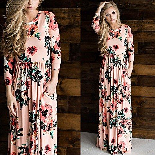 Minetom Damen Sommer Freizeit Langarm Geblümt Böhmischen Blumen Drucken Strand Maxi Kleid Abendkleid Boho Stil Lange Dress Rosa