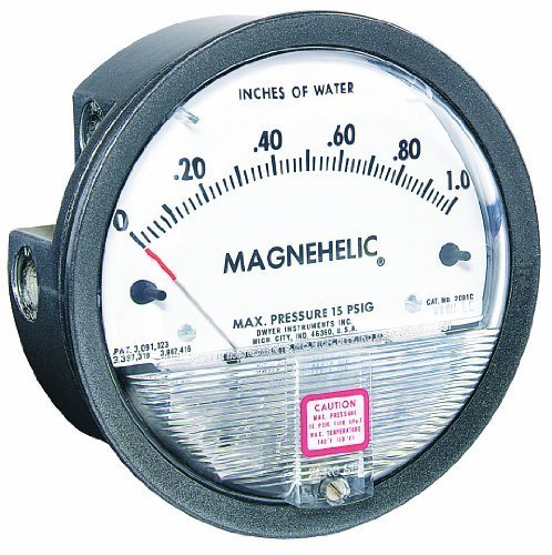 Dwyer Magnehelic Series 2000 Differential Pressure Gauge, Range 0-25
