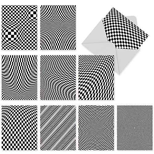 M2007sl Vertigo: 10 sortierte Blanko-Notizkarten für alle Gelegenheiten, verziert mit schwindelnden schwarz-weißen Mustern, mit weißen Umschlägen. (Und Schwarz Weiß-narr)