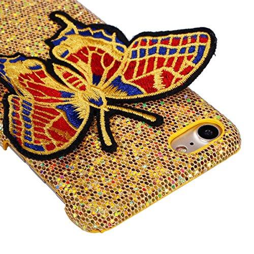 Felfy iPhone 6 Plus Schutz,iPhone 6S Plus Hülle Ultra Dünne High Quality Case Plastic Hülle Cover Schutzhülle Backcover iPhone 6S Plus Schale de Protection Case Cas [Schmetterling Stickerei + Bling Pa Schmetterling Golden