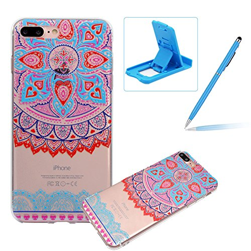 Herzzer Silicone Transparente Coque pour iPhone 7/ iPhone 8, Ultra Mince Crystal Clear Flex Soft Skin Gel TPU Bumper Motif de Mandala Tribal Fleur Design Anti Rayure Antichoc Housse Étui de Protection pour iPhone 7/ iPhone 8 (4,7 Pouces)