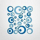 WANDfee® Wandtattoo 50 Retro Kreise AC0711415 Größe Ø 2 x 20 cm, 6 x 15 cm, 10 x 10 cm, 20 x 6 cm, 12 x 3 cm Farbe blau hellblau