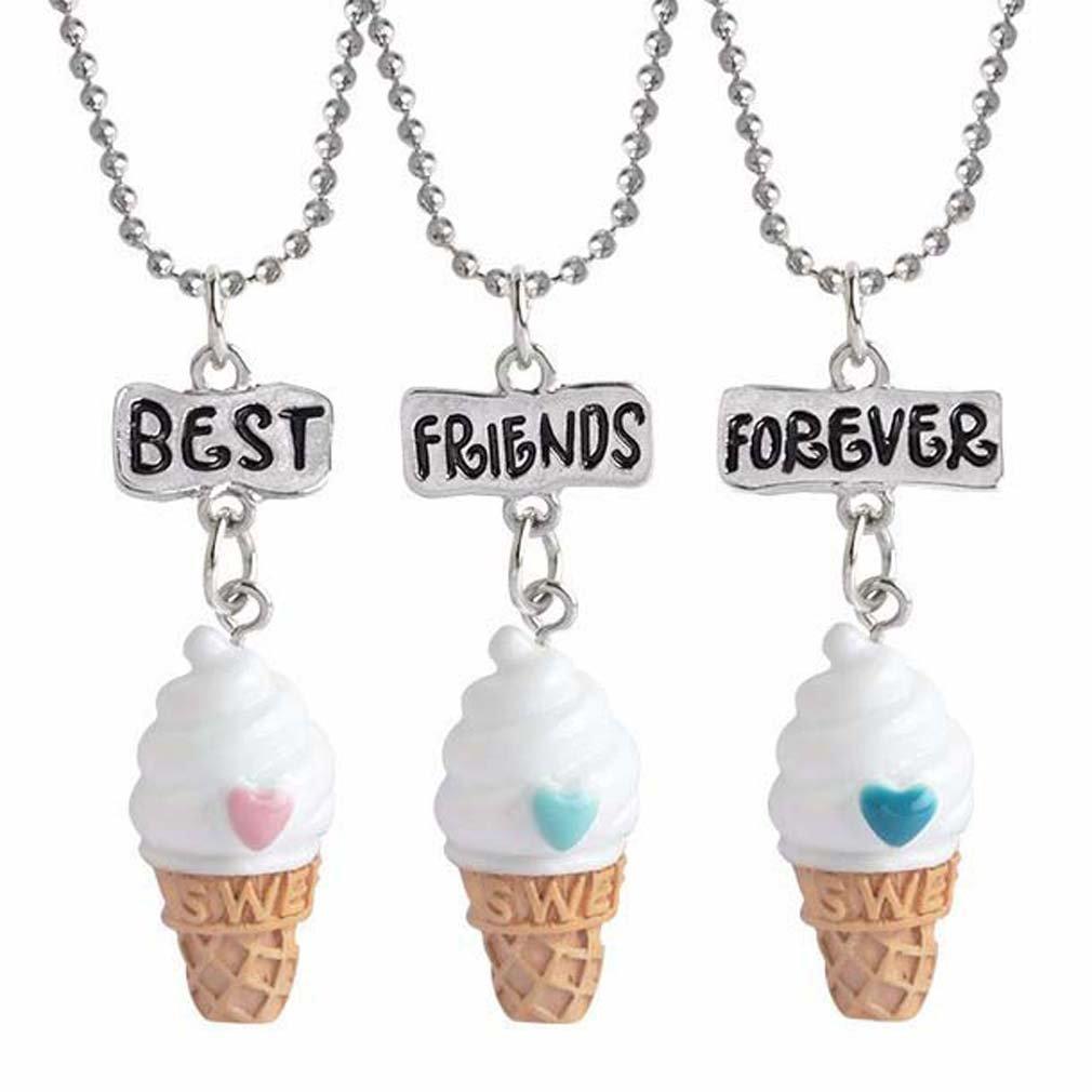 MJartoria Damen Mädchen Halskette Silber Farbe Essen Schmuck Anhänger mit Gravur Freundschaftsketten 3 Stück