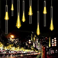 LED String Light, S7 SEVEN Waterproof Meteor Shower lights 30cm 8 Tubes 144 LED Falling Shower Rain Drop Icicle String Lights for Home Garden Patio Outdoor Wedding Party Décor (Warm White)