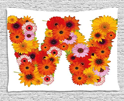 Art 104 Daisy (VTXWL Letter W Tapestry, Letter W Capitalized Arrangement of Flowers Vibrant Colored Daisies Bouquet Art, Wall Hanging for Bedroom Living Room Dorm, 80 W X 60 L Inches, Multicolor)
