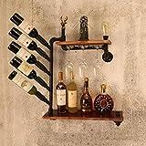 XZRY SWGS SUNBOR Wandhalterung Weinregal Vintage Industrie Wasserrohr Holz Küche Esszimmer Cafe Bar Design Innenausstattung SG-D01