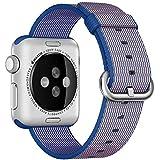 Kartice for Apple Watch Band, Tissé Nylon Bandes Remplacement Bracelet Bracelet Bracelet avec Boucle Classique pour Apple Watch / Sport / Edition (Bleu foncé, 38mm)