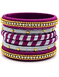 Indi Creation Silk Thread Bangles Set For Women Girl Ethnic Wear Traditional Bangle Set Multi Color Pack Of 6...