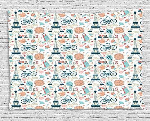 teppich, Herbst in Frankreich Thema, Wohnzimmer Schlafzimmer Heim Seidiges Satin Wandteppich, 200 x 150 cm, Mehrfarbig ()
